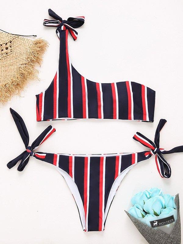 Lace-Up Striped Bikini Set - Black S