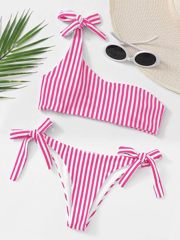 Lace-Up Striped Bikini Set - Beetroot Purple M
