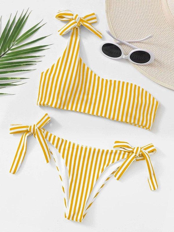 Lace-Up Striped Bikini Set - Yellow L