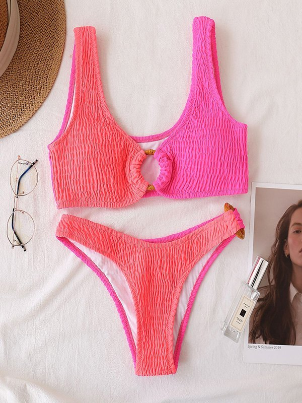 Two-Tone Smocked Bikini Set - Beetroot Purple L
