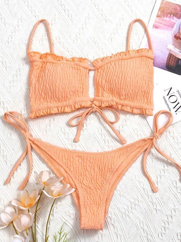 Lace-Up Smocked Bikini Set - Orange M