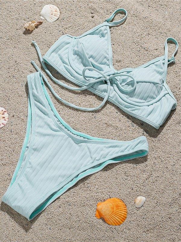 Push-Up Underwire Bikini Set - Sky Blue L