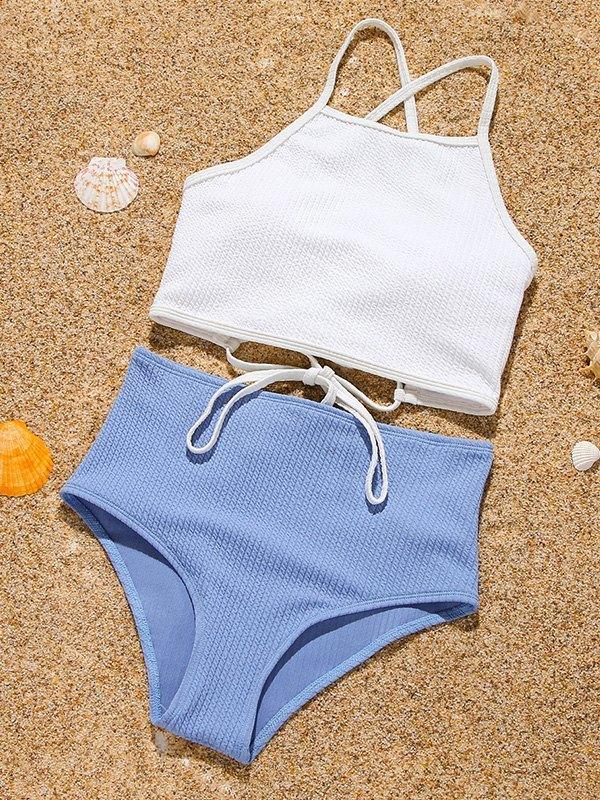 Back Tie Tankini Swimsuit - Blue L