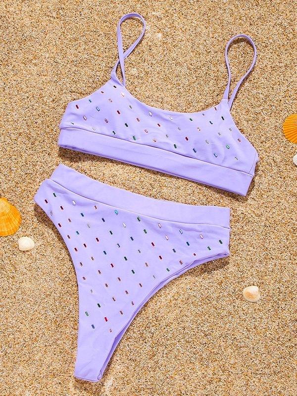 Color Bead Decor Bikini Set - Lilac S