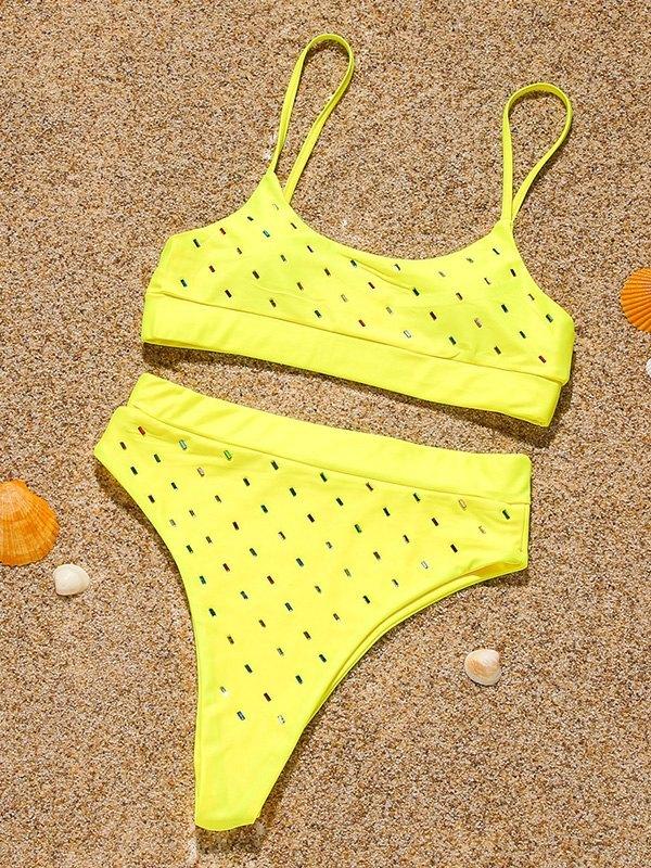 Color Bead Decor Bikini Set - Yellow L