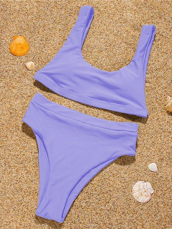 Solid Strap Bikini Set - Lilac L