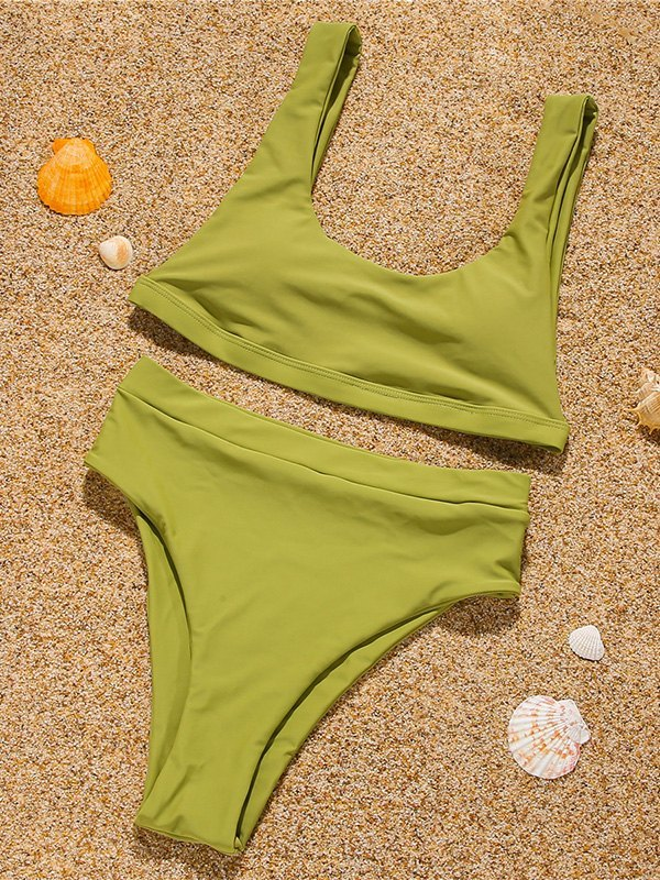 Solid Strap Bikini Set - Yellow L