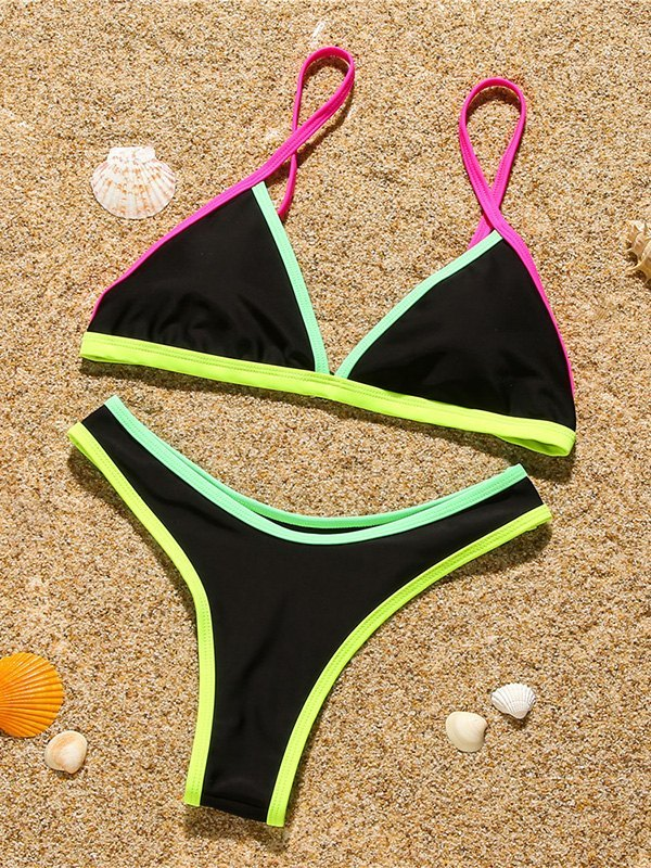 Neon Trim Triangle Bikini Set - Black M