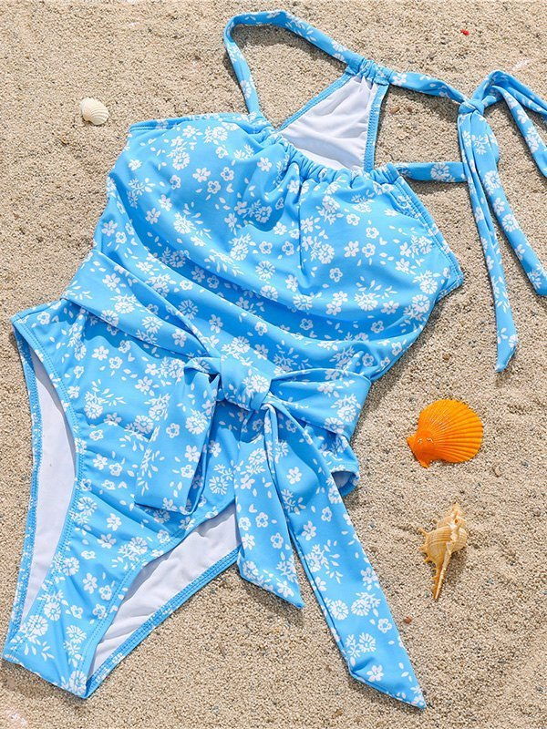 Printed Bowknot One-Piece Swimsuit - Blue S