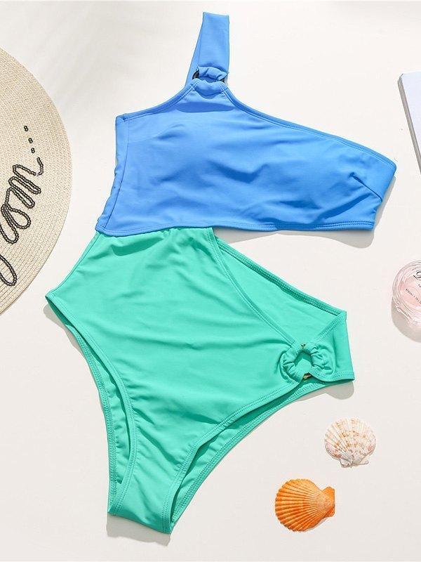 Contrast Irregular One-Piece Swimsuit - Blue L