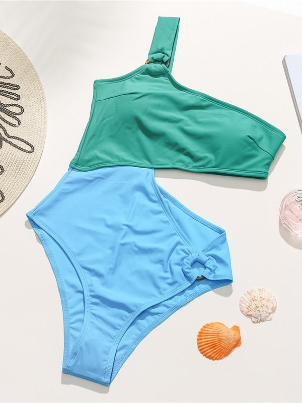 Contrast Irregular One-Piece Swimsuit - Green M