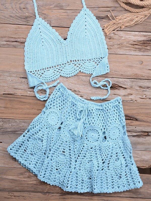 Braided Halter Bikini Set - Blue M