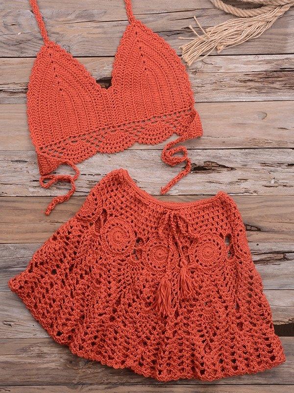 Braided Halter Bikini Set - Vermilion XL
