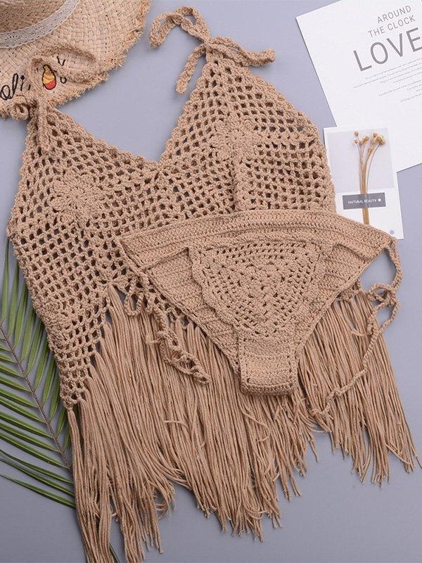 Crochet Hollow Bikini Set - Camel ONE SIZE