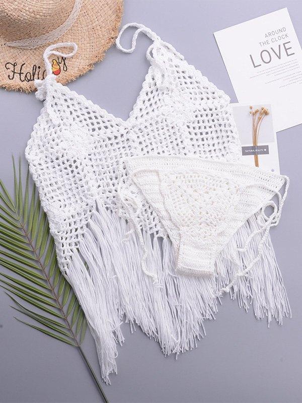 Crochet Hollow Bikini Set - White ONE SIZE
