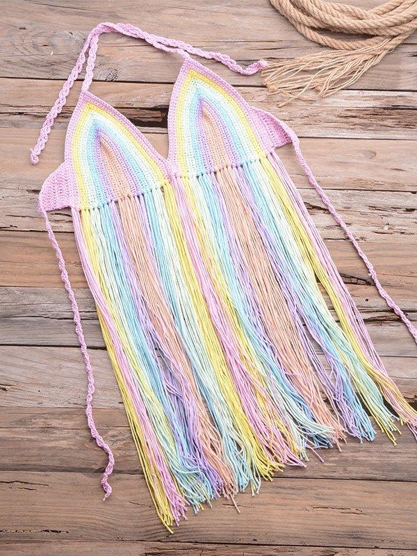 Rainbow Braided Halter Bikini Top - Pink L