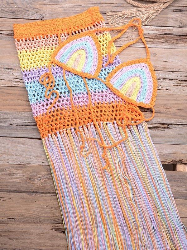 Rainbow Braided Bikini Set - Orange L