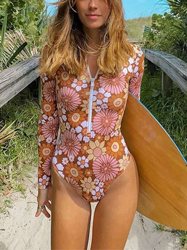 Floral Print Surf One-Piece Swimsuit - Pink S