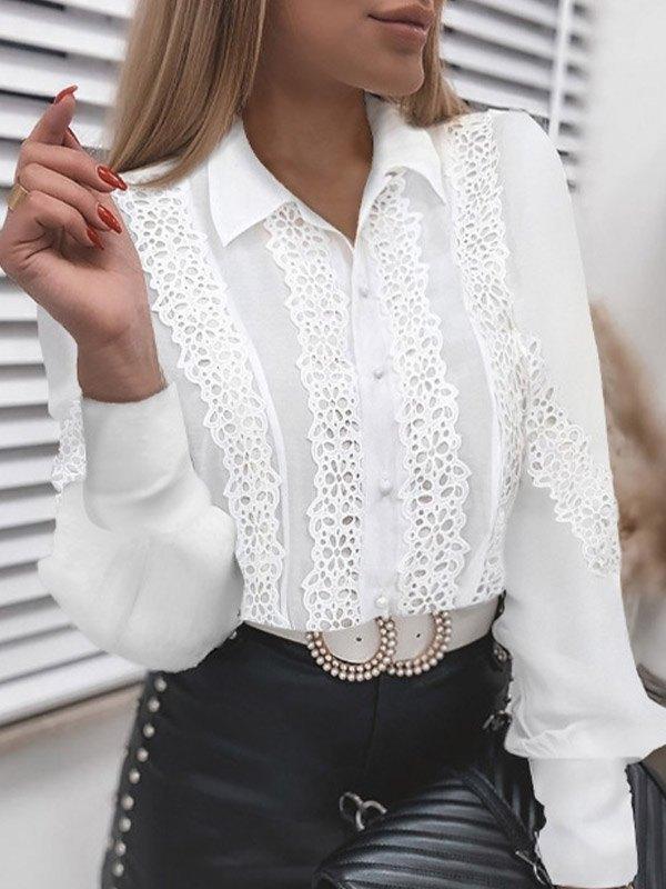 Lace Paneled Long Sleeve Blouse - White 2XL