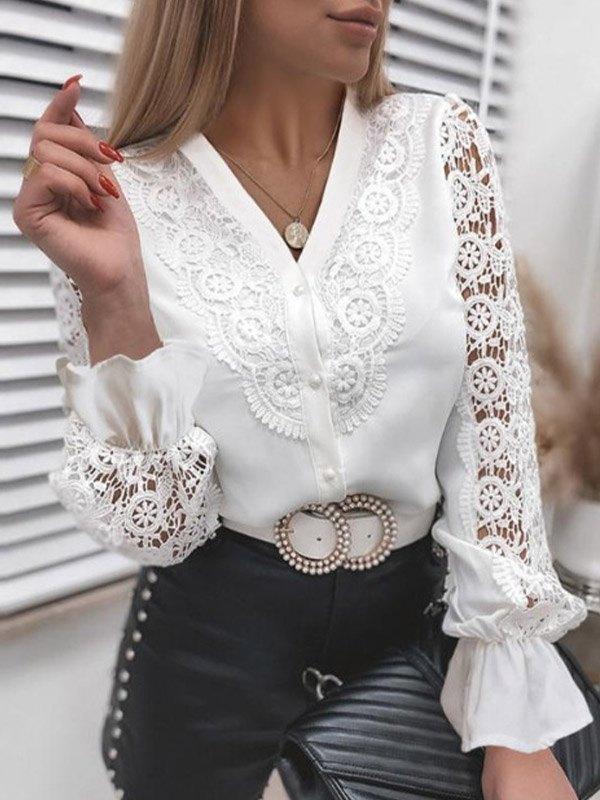 Lace Paneled Long Sleeve Blouse - White M