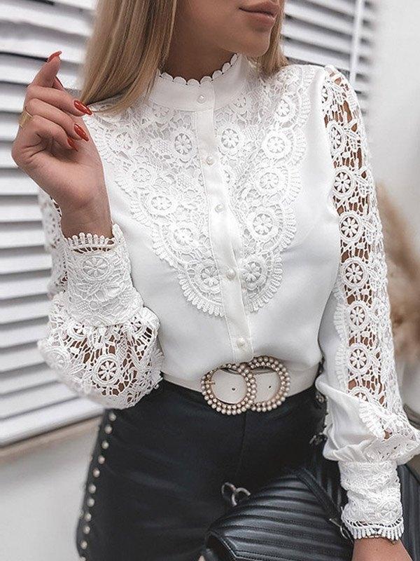 Lace Paneled Long Sleeve Blouse - White XL