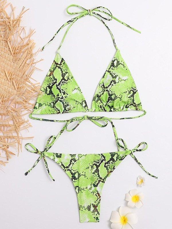 Printed Halter Bikini Set - Green M