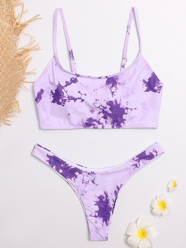 Tie-Dye Bikini Set - Purple L