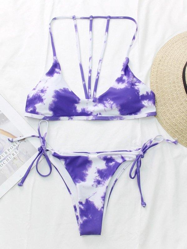 Tie-Dye Halter Bikini Set - Purple M