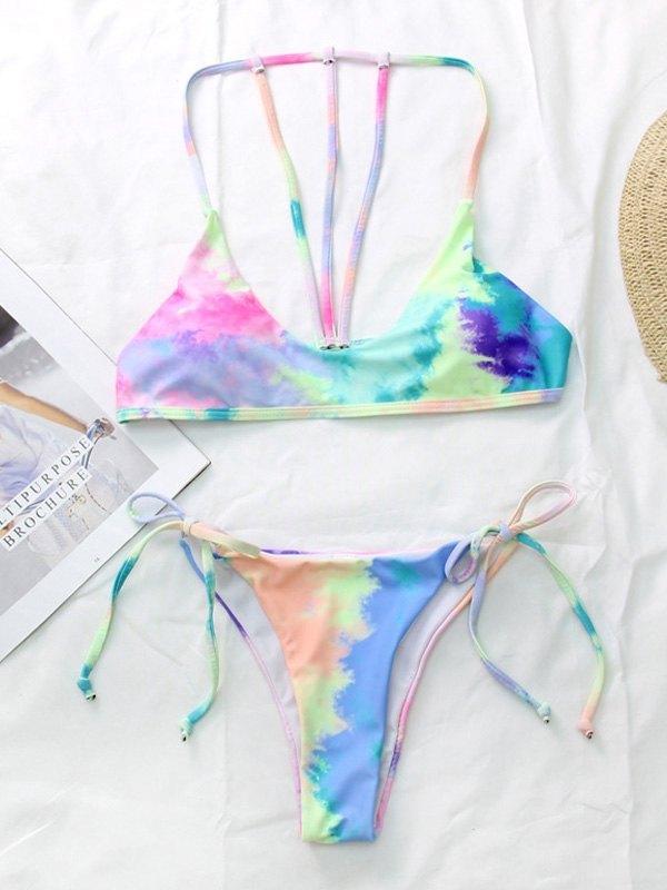Tie-Dye Halter Bikini Set - Pink L
