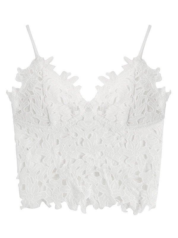 Crochet Lace Crop Cami Top - White XL