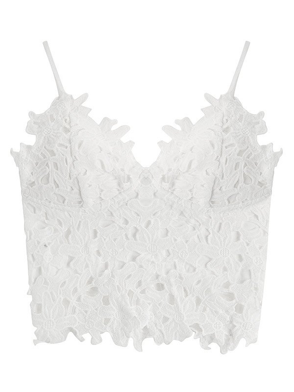 Crochet Lace Crop Cami Top - White L