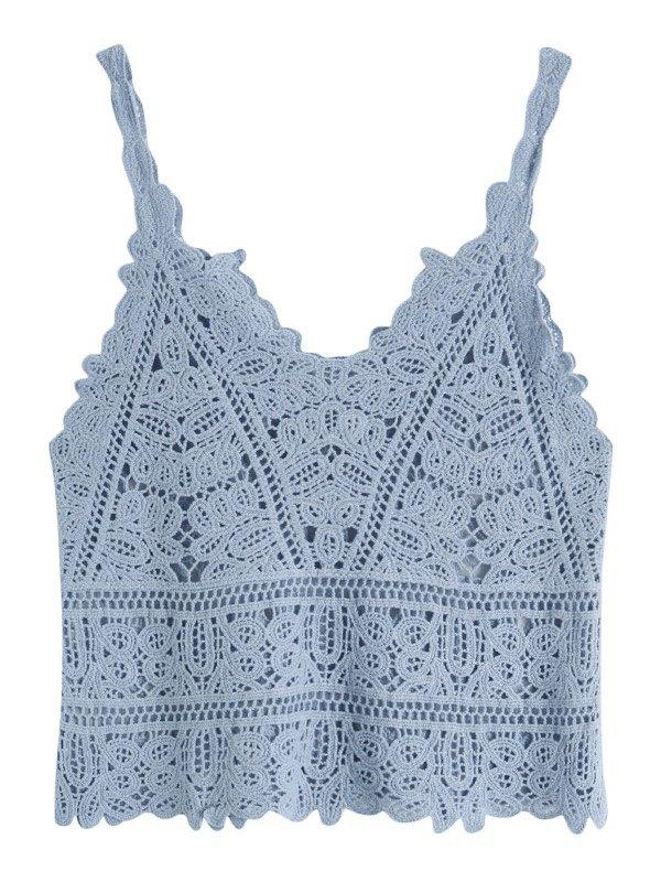 Crochet Hollow Crop Cami Top - Sky Blue XL