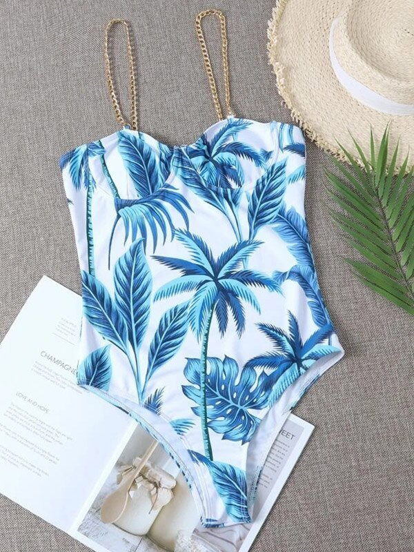 Coconut Tree Print One-Piece Swimsuit - Blue L