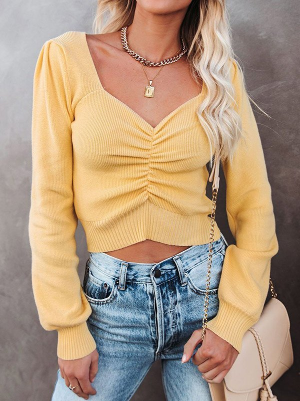 Long Sleeve Cropped Knit - Yellow M