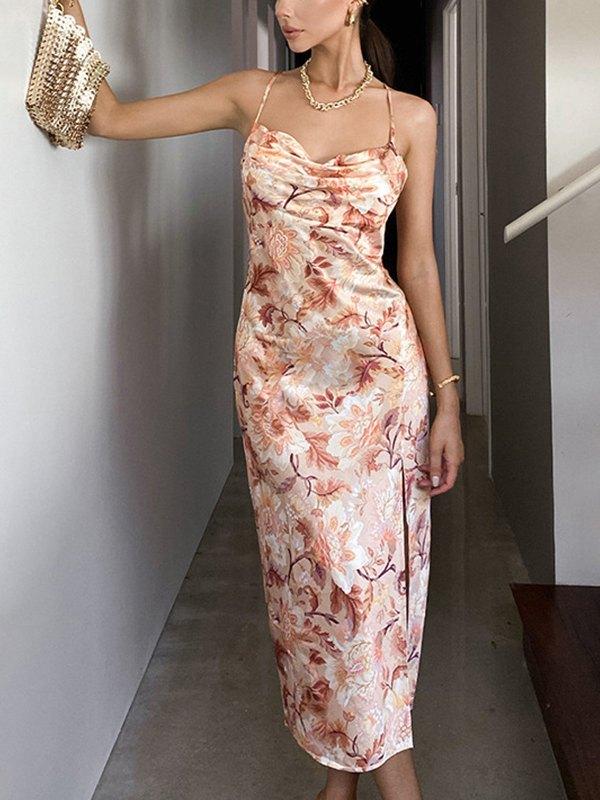 Floral Print Cowl Neck Cami Dress - Orange S