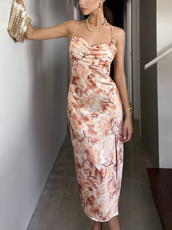 Floral Print Cowl Neck Cami Dress - Orange L