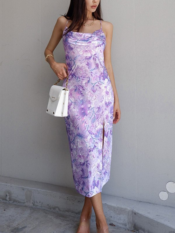 Floral Print Cowl Neck Cami Dress - Lavender L