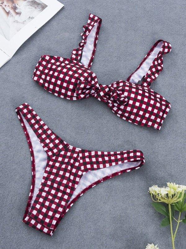Bow Tie Plaid Bikini Set - Burgundy XL