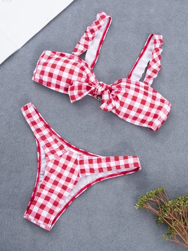 Bow Tie Plaid Bikini Set - Red S