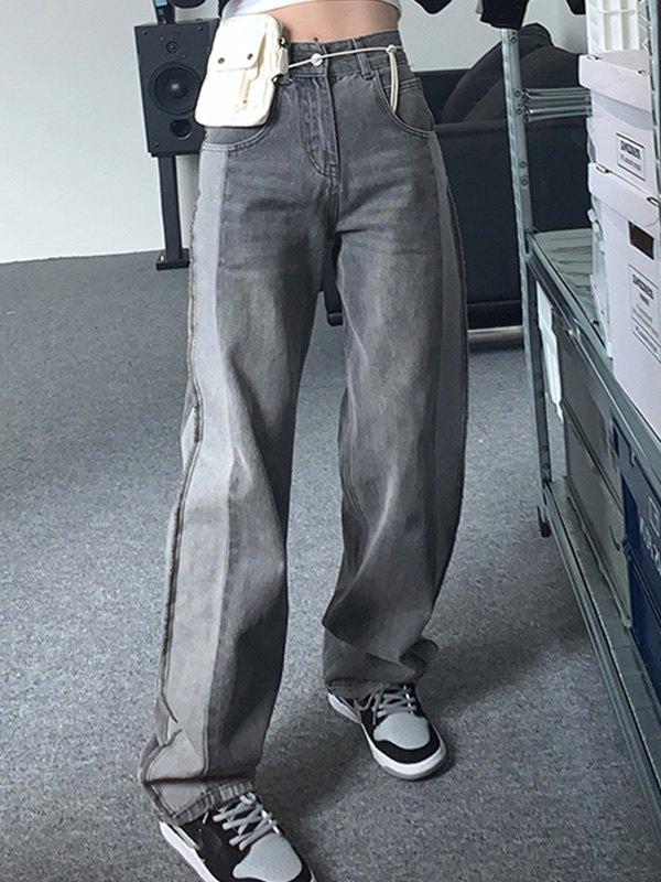 Side Patchwork Boyfriend Jeans - Gray M