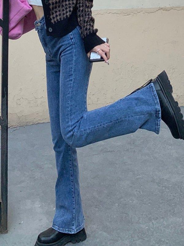 Back Split Boot Cut Jeans - Denim Blue L