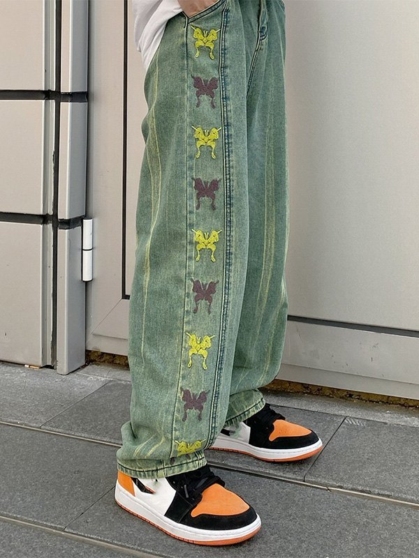 Butterfly Embroidered Ombre Boyfriend Jeans - Green L