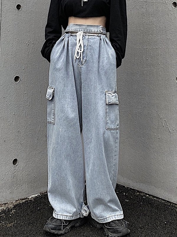Cutout High Waist Cargo Jeans - Blue XS