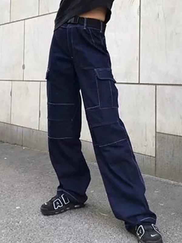 Buckle Belt Cargo Jeans - Dark Blue M