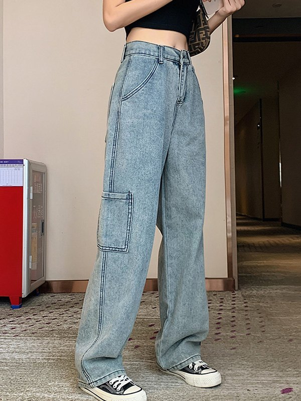 Washed Straight Cargo Jeans - Blue XL
