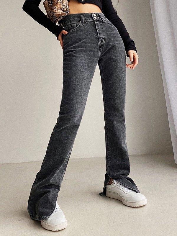 Split Leg Stretch Slim Jeans - Black L