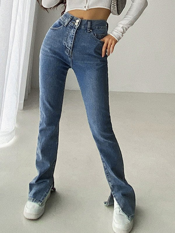 Split Leg Stretch Slim Jeans - Dark Blue XL