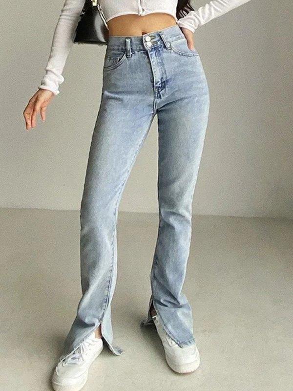 Split Leg Stretch Slim Jeans - Light Blue XL