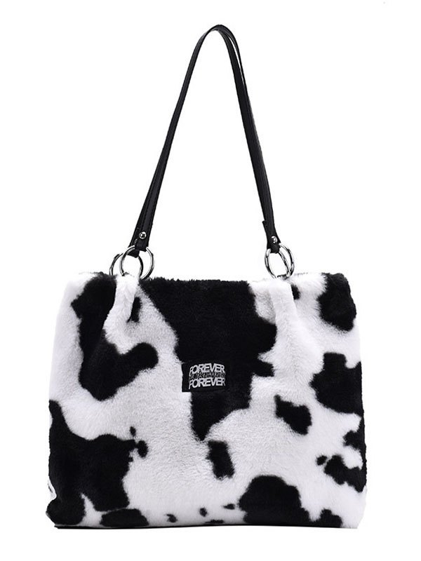 Cow Print Fuzzy Tote Bag - White ONE SIZE