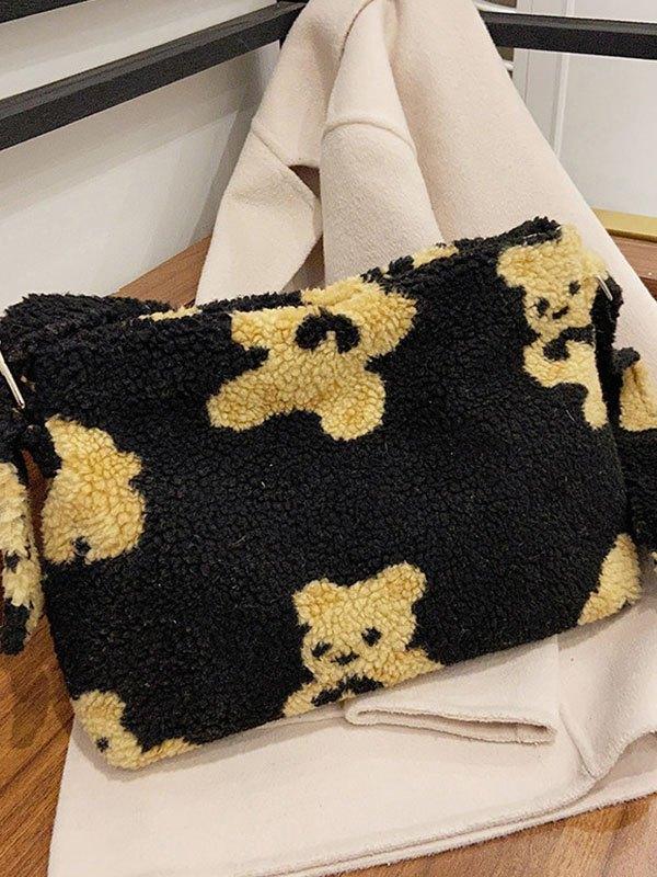 Cute Bear Pendant Fleece Shoulder Bag - Black ONE SIZE